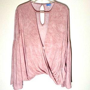 Tie Dye Wrap Top Cutout Crossover Blouse Boho Pink